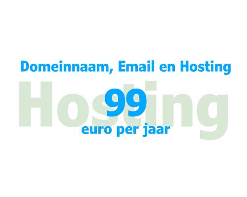 Domeinnaam, Email en Hosting 99 euro per jaar